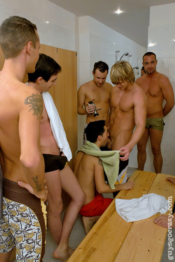 Gay public shower sex